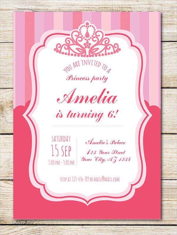 Princess Crown Birthday Invitation