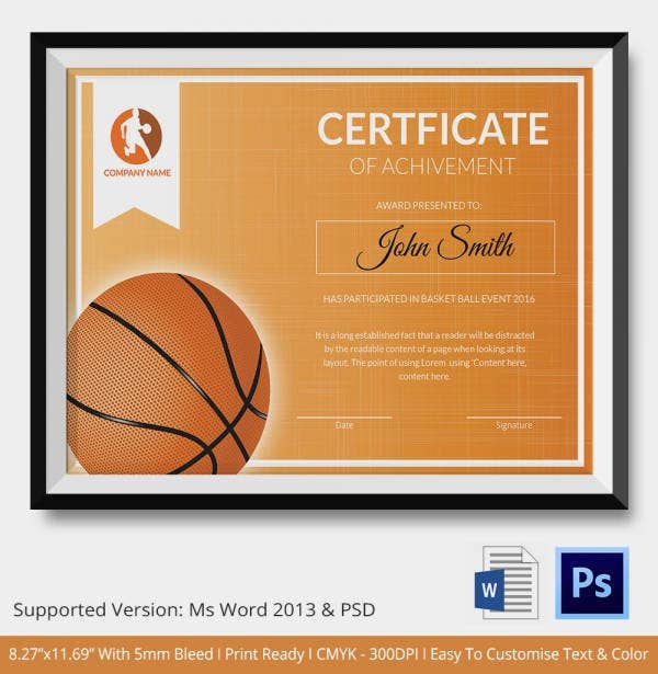 Award certificate template 15 free word pdf psd format award presentation certificate for basketball team yelopaper Gallery