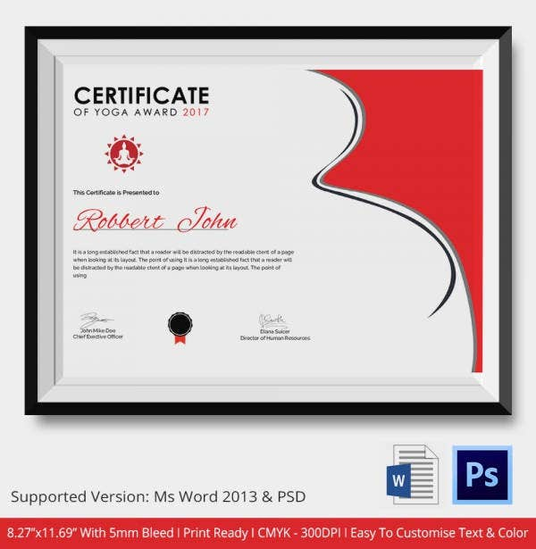 Best Yoga Award Certificate