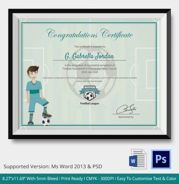 Award Certificate Template 15 Free Word PDF PSD Format – Sports Award Certificates