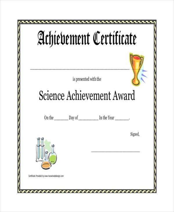 science achievement award printable certificate