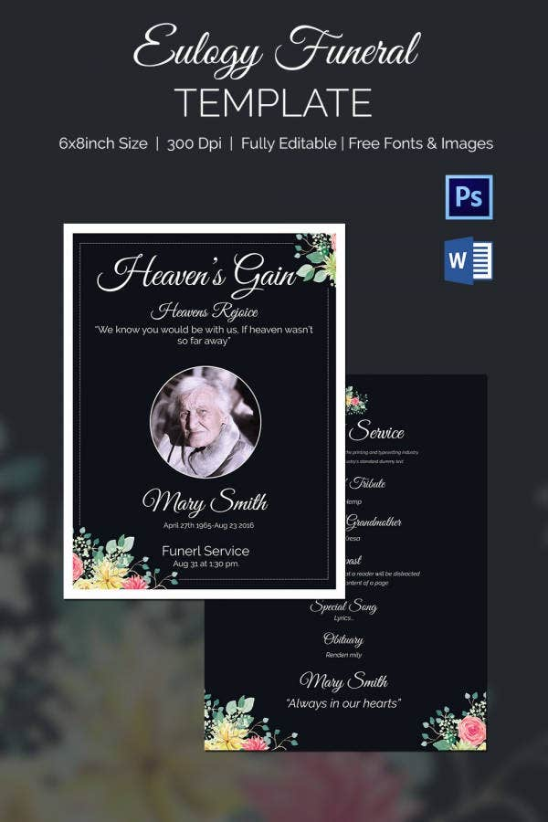 Tribute Eulogy Funeral Template