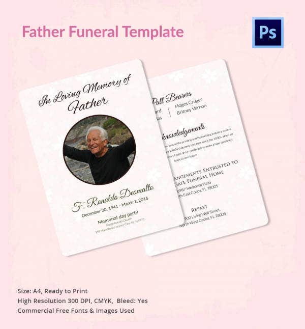 Funeral Invitation Template for Father