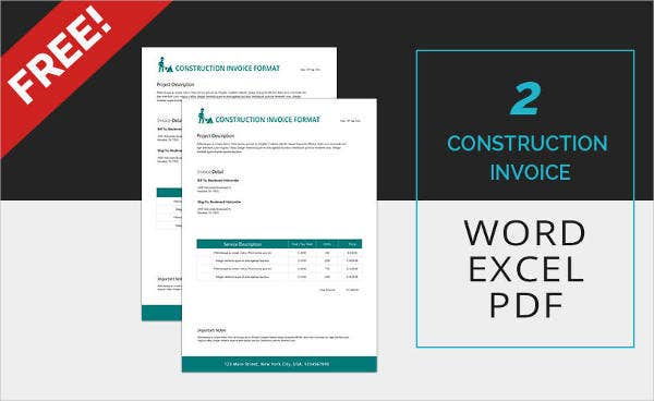 16 Simple Invoice Template Free PSD Vector AI EPS Format – Construction Invoice Template