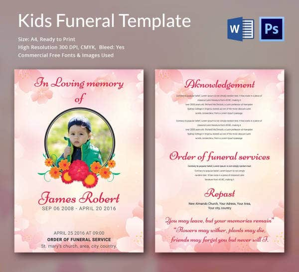 Elegant Funeral Template for Kids