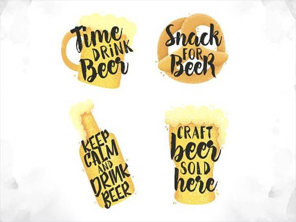 watercolor style beer logo