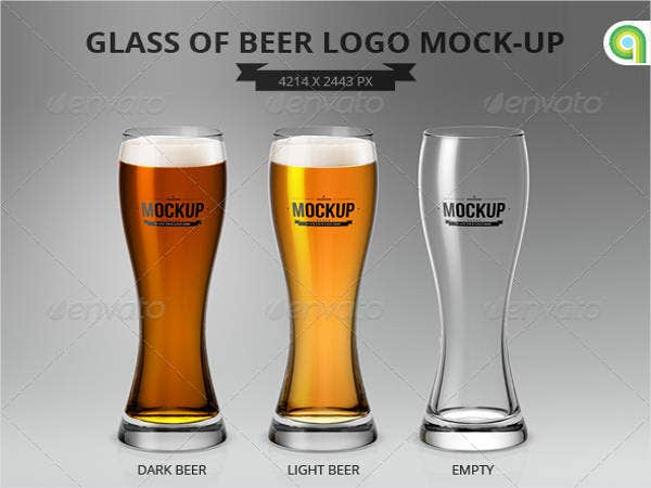 Glass of Beer Logo Mock-Up