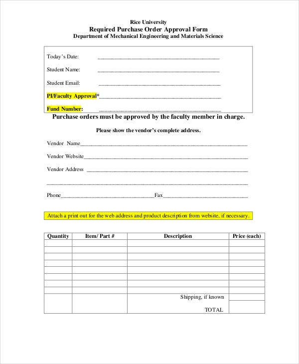 purchase order approval template  Purchase Order Form - 15  Free Word, PDF Documents Download | Free ...
