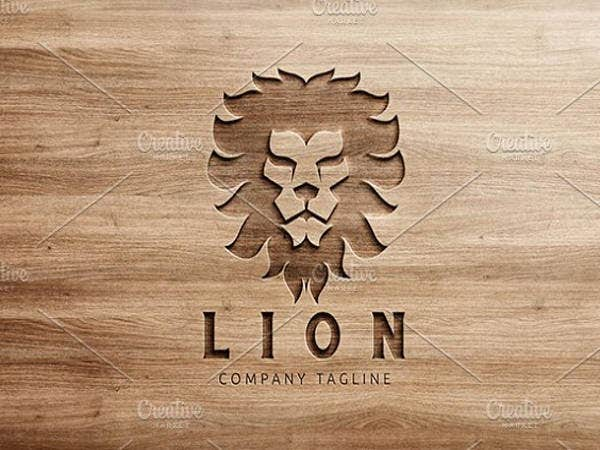 wood design lion logo template
