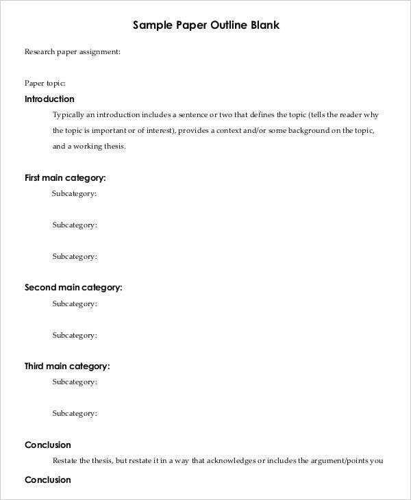Printable research paper outline template 8 free word pdf