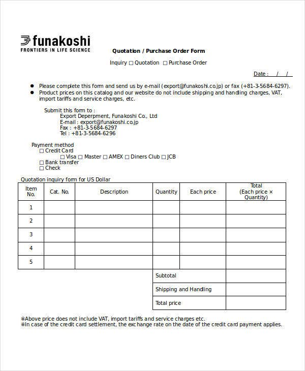 Quotation/ Purchase Order Form  Purchase Order For Services Template