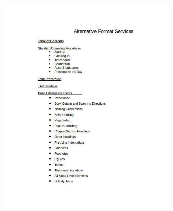 Table Of Content   Free Word Documents Download  Free