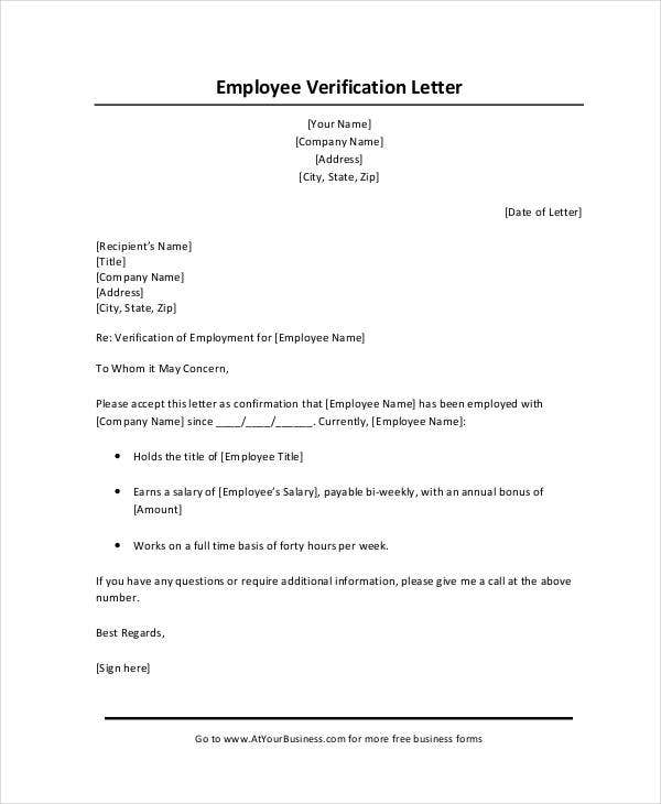 Sample Income Verification Letter From Employer