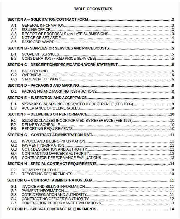 Table of contents template for Table of contents