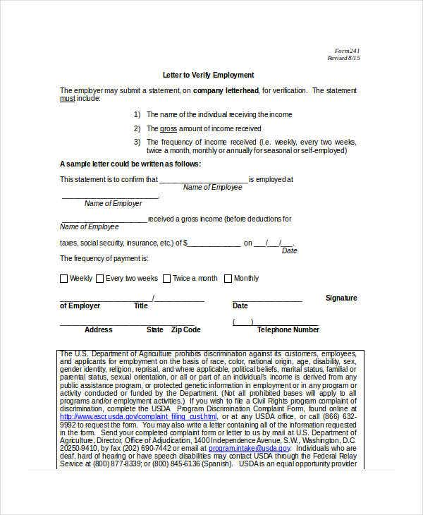 Income Verification Letter - 5+ Free Word, Pdf Documents Download