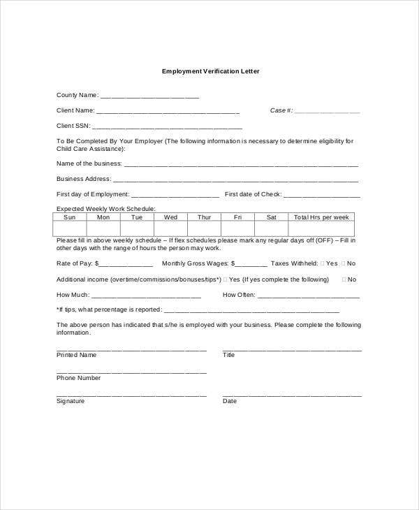 rental application letter from employer