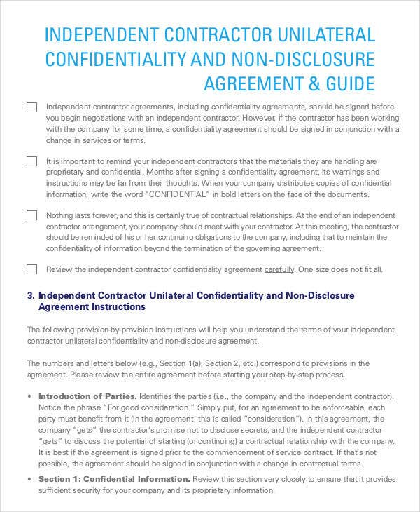 independent contractor confidentiality agreement