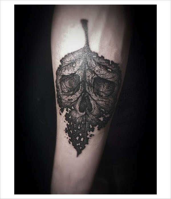 Skull Leaf Arm Tattoo