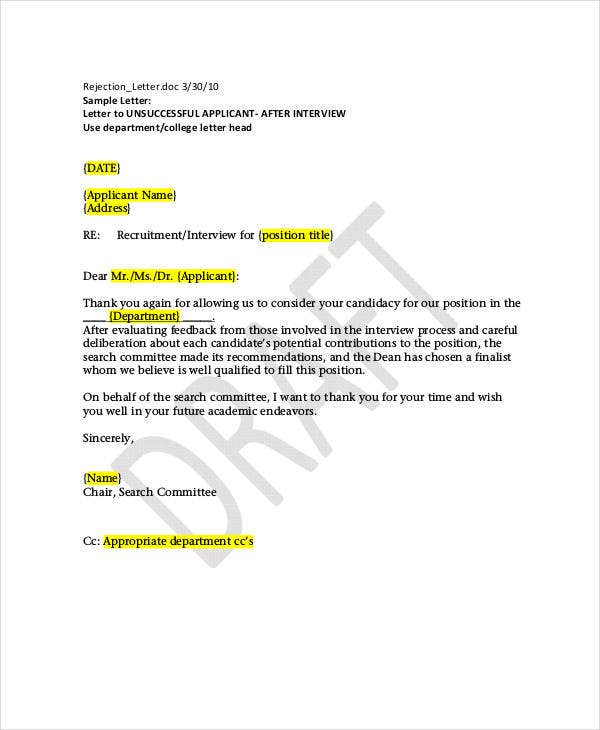 letter of rejection for applicant after interview