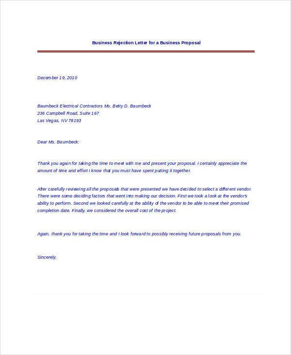 Rejection Letter Sample   Free Word Pdf Documents Download