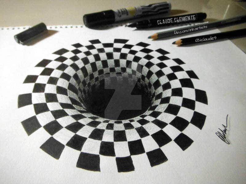 optical illusion hole drawing dark drawings claude templates template examples deviantart dragon baby