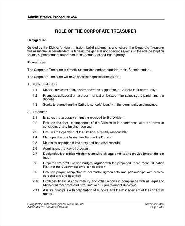 Corporate Treasurer Job Description