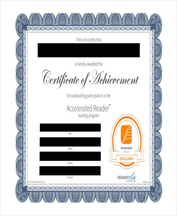 certificate of reading achievement template