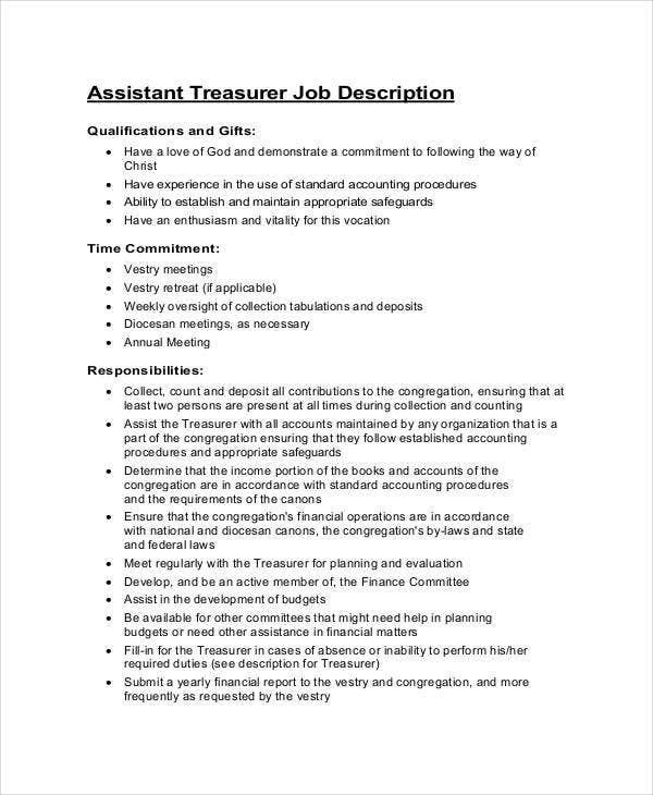 assistant treasurer job description