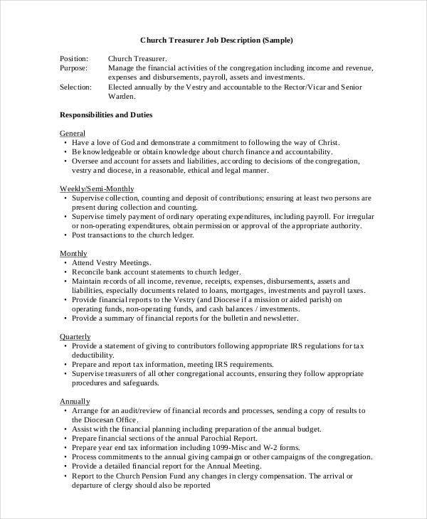 church treasurer job description template