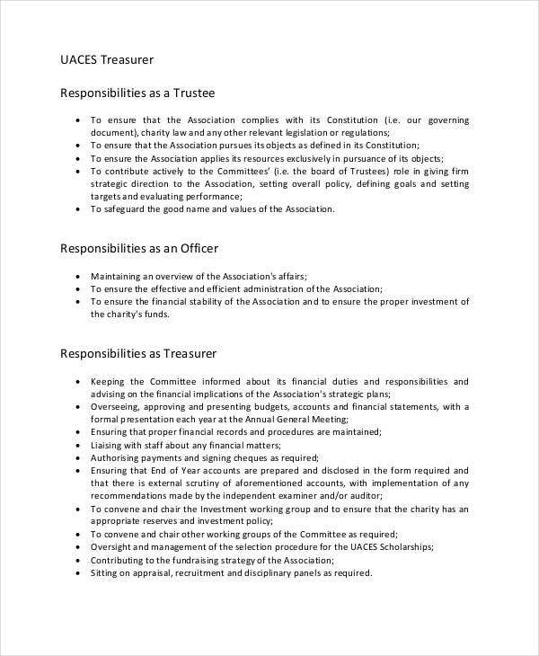 treasurer job description sample1