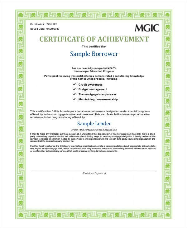 Printable Barrower Certificate Of Achievement Template  Certificate Of Achievement Sample