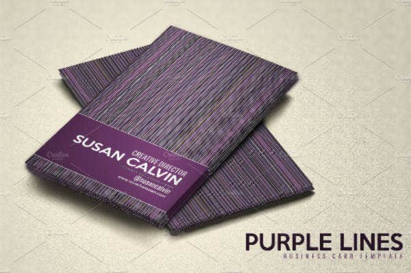 minimalist purple lines business card