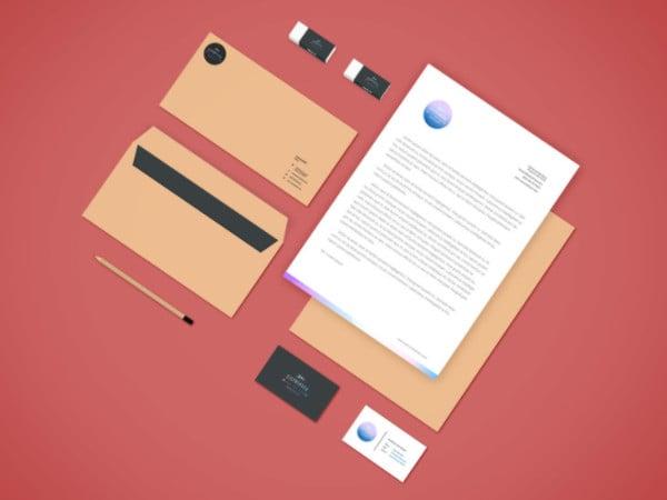 Free PSD Branding Stationery Mockup