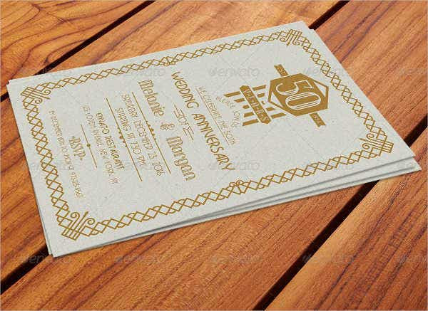Art Deco Wedding Anniversary Invitation