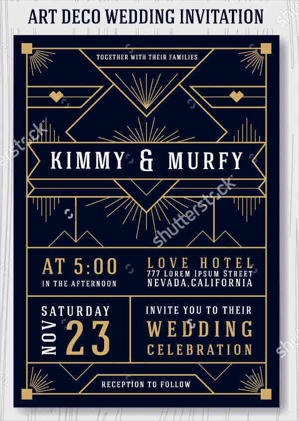 9 Art Deco Wedding Invitations Psd Ai Eps Word Free