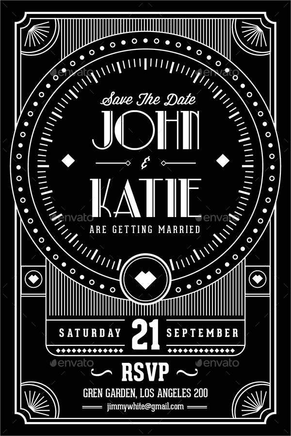 9  art deco wedding invitations