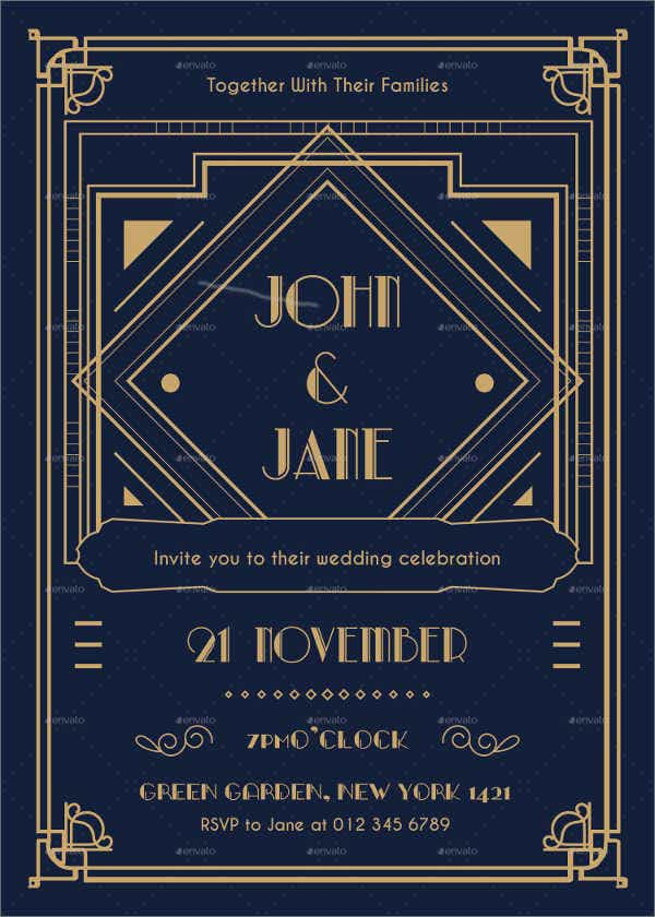 Elegant Art Deco Wedding Invitation