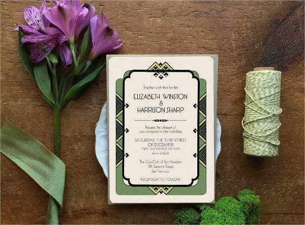 Floral Art Deco Wedding Invitation
