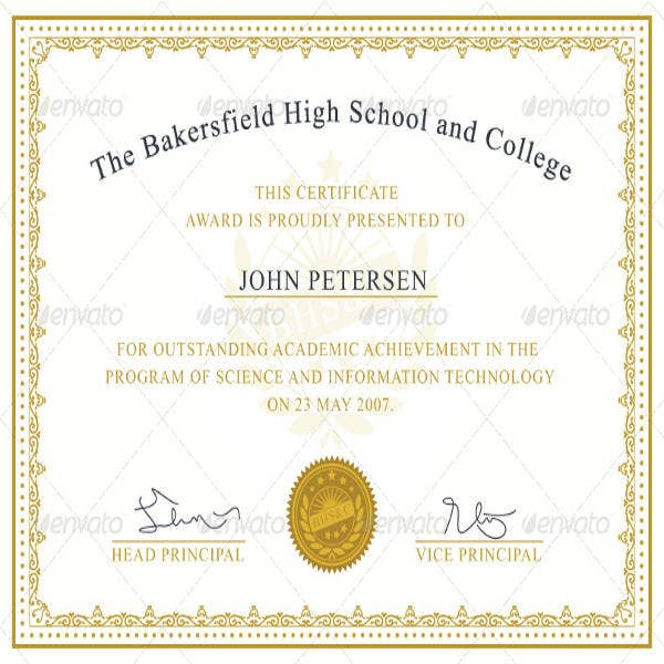 Certificate Of Academic Achievement Template  Certificate Achievement Template
