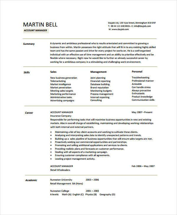 Account Manager Resume Examples | 10 Account Manager Resume Templates Pdf Doc Free Premium
