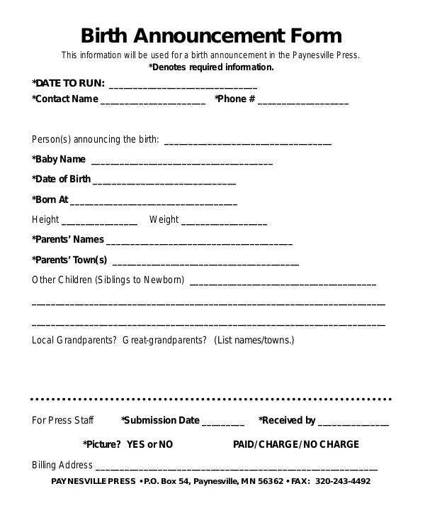 Birth Announcement Form