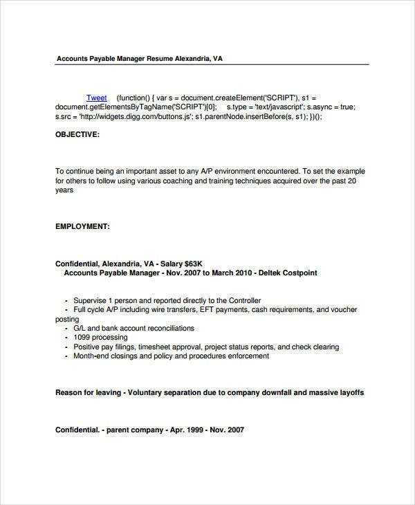 Account Payable Manager Resume
