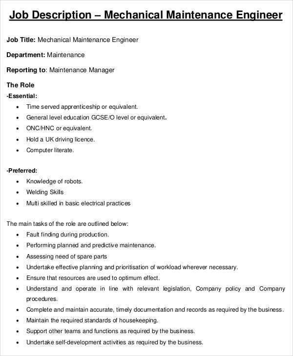 Engineer Job Description 9 Free Word PDF Documents Download – Job Description of Electrical Engineer