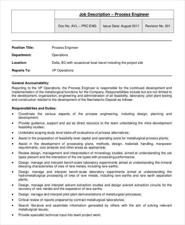 Process Engineer Job Description