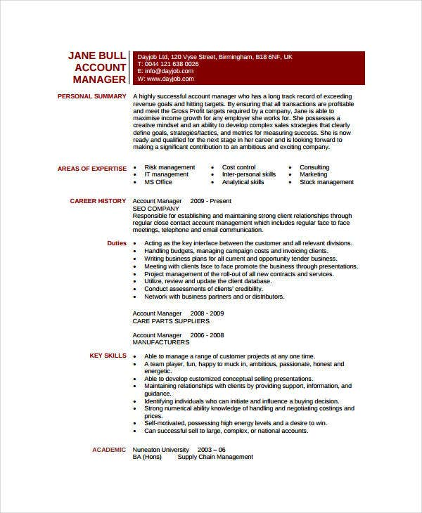 Sample Account Manager Resume
