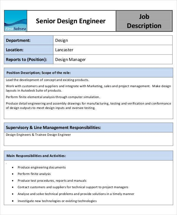 design engineer job description