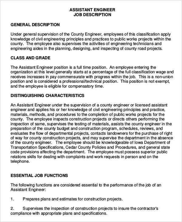 Engineer Assistant Job Description