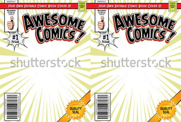 Blank Comic Book Cover Template : Beautiful book cover templates free sample example