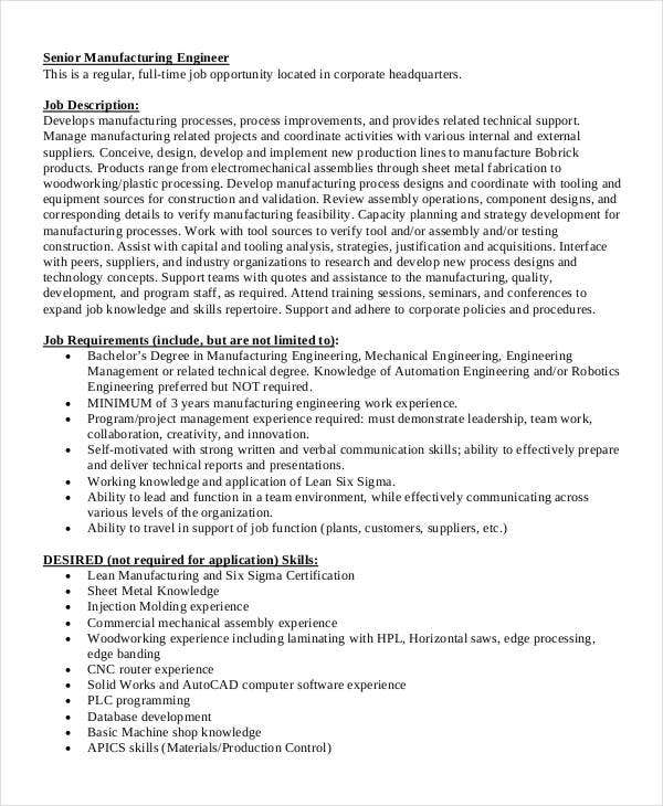 Manufacturing Engineer Job Description
