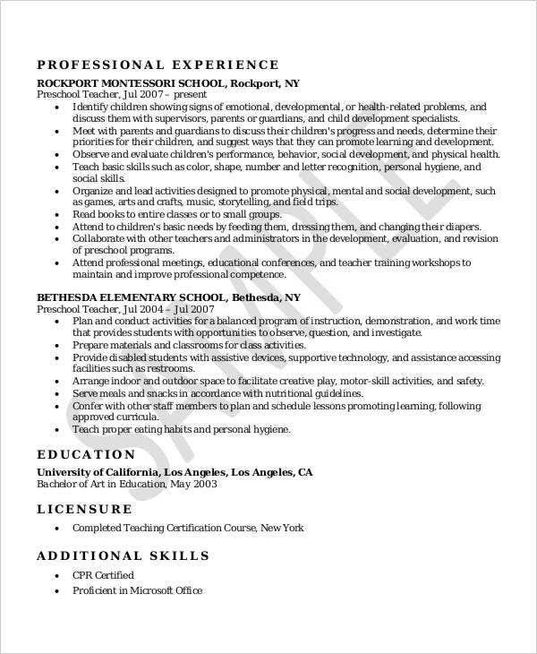 Sample Montessori Preschool Teacher Resume